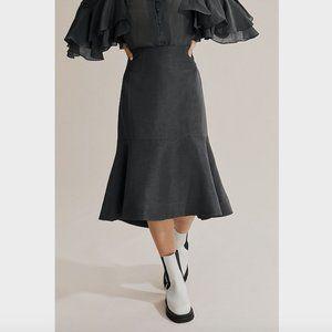 Country Road Dark Grey Linen Frill Hem Skirt 6